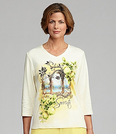 Allison Daley Petites Sorrento Printed Knit Top