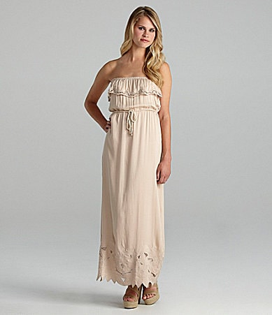 Aryn K. Strapless Embroidered-Hem Maxi Dress