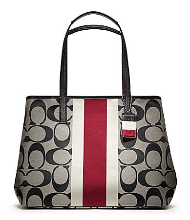COACH HAMPTONS WEEKEND SIGNATURE STRIPE LARGE TOTE