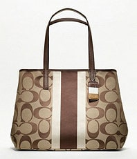 0946c75378e6 COACH HAMPTONS WEEKEND SIGNATURE STRIPE MEDIUM TOTE on PopScreen