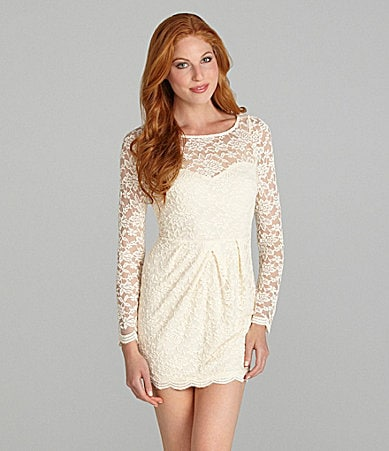 Blue Juice Lace Sweetheart-Illusion Dress