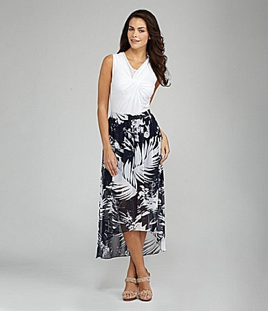 Vince Camuto Pleated Mixed-Media Top & Abstract Palm-Print Hi-Low Skirt