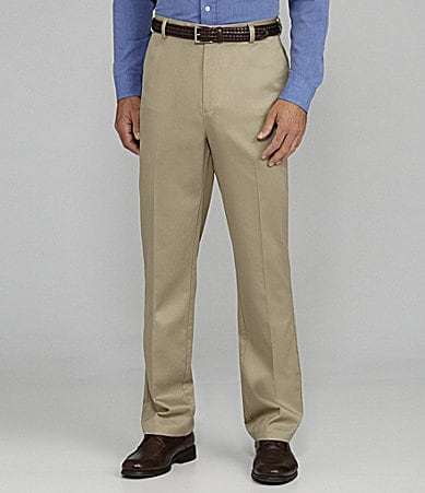 Roundtree & Yorke Flat- Front Inno-Flex Travel Smart Twill Pants