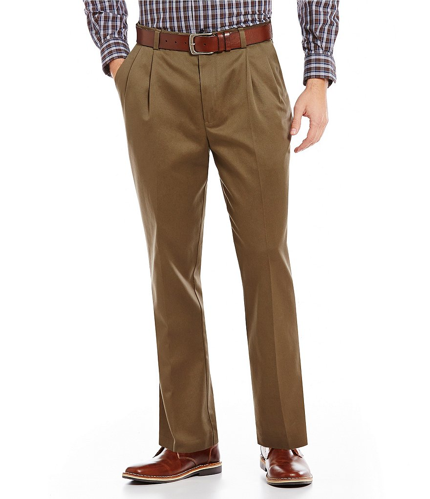 Roundtree & Yorke Non-Iron Classic-Fit Pleated Inno-Flex Travel Smart Twill Pants