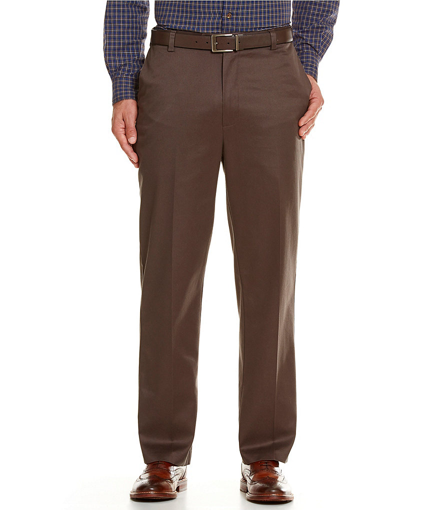 Roundtree & Yorke Classic-Fit Flat-Front Ultimate Expander Travel Smart Twill Pants