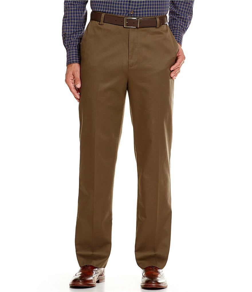 Roundtree & Yorke Non-Iron Classic-Fit Flat-Front Ultimate Expander Travel Smart Twill Pants