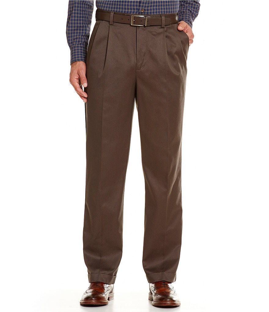 Roundtree & Yorke Classic-Fit Pleated Ultimate Expander Travel Smart Twill Pants