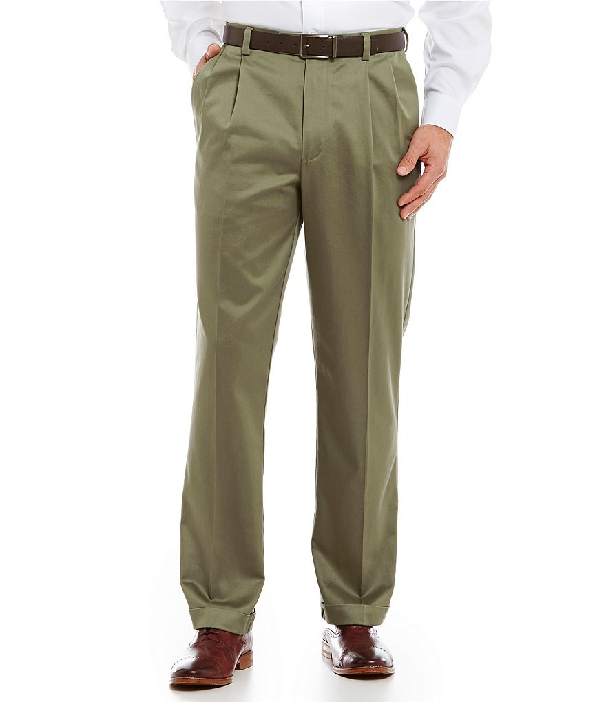 Roundtree & Yorke Non-Iron Classic-Fit Pleated Ultimate Expander Travel Smart Twill Pants