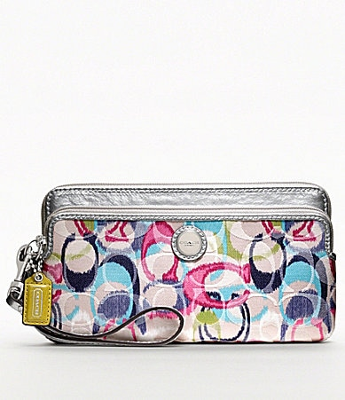 COACH POPPY IKAT DOUBLE ZIP WALLET