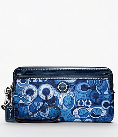 COACH POPPY DENIM PRINT DOUBLE ZIP WALLET
