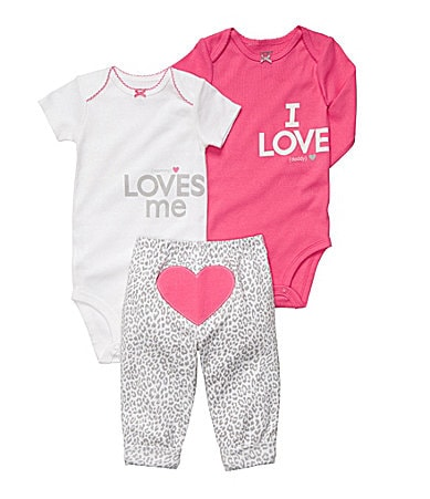 Carter�s Newborn Heart 3-Piece Bodysuit Set