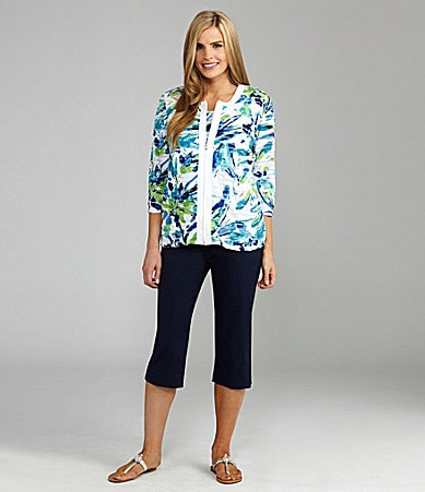TanJay Abstract-Print Zip Jacket, Abstract-Print Scoopneck Tank & Comfort Stretch Capri Pants