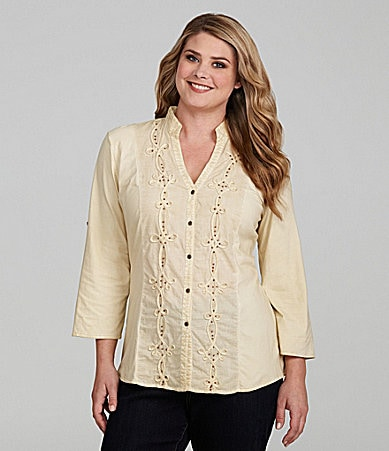 Reba Woman Button Front Knit/Woven Shirt