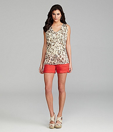Gianni Bini Winnie Sleeveless Animal-Print Top & Dolly Roll-Cuff Shorts
