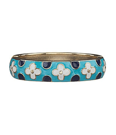 Anna & Ava Flowers & Dots Enamel Bangle Bracelet