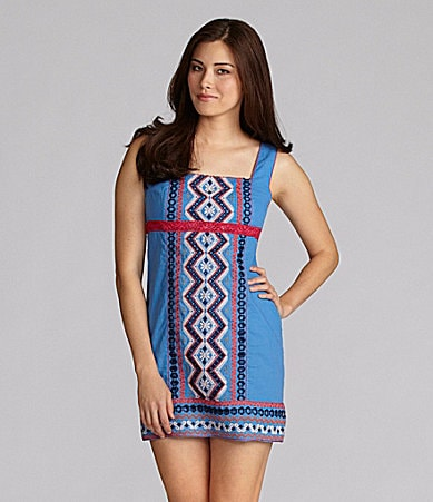 Chelsea & Violet Tribal-Embroidered Shift Dress