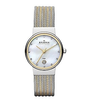 Skagen Classic 3 Hand Stainless Steel Striped Mesh Bracelet Watch