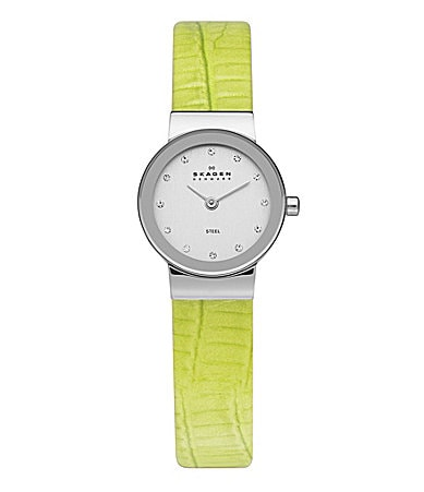 Skagen Ladies Green Embossed Leather Watch