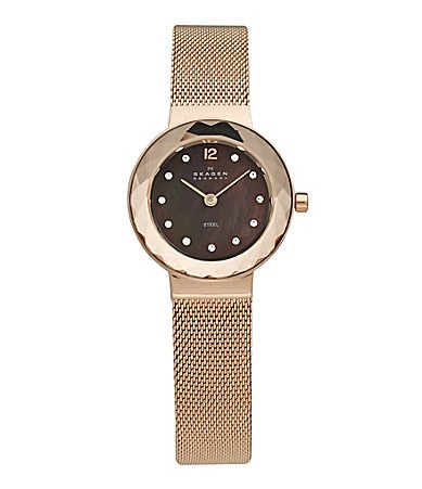Skagen Ladies Crystal Bezel Rose Gold Dress Watch