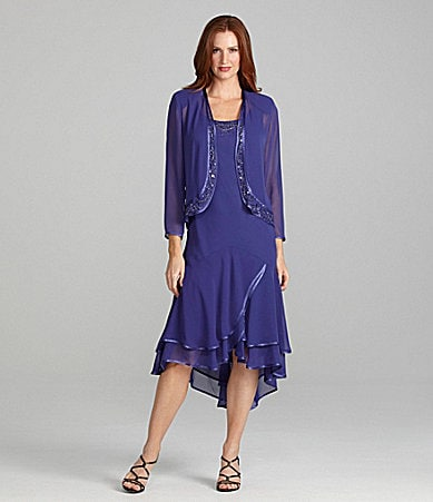 S.L. Fashions Chiffon Beaded Jacket Dress