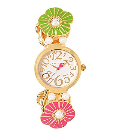 Betsey Johnson Baubles & Bangles Time Multi Color Flower Watch