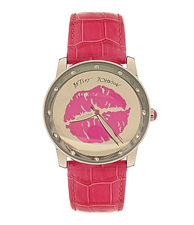 Betsey Johnson Lots �n� Lots of Time Pink Leather Lips Watch