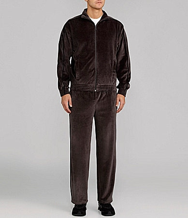 Roundtree & Yorke Sport Velour Piped Warm-Up Set