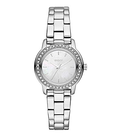 DKNY Glitz Silver Mother of Pearl Watch