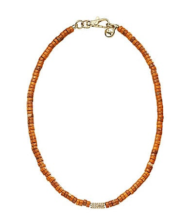 Michael Kors Coral Beaded Pave Barrel Necklace