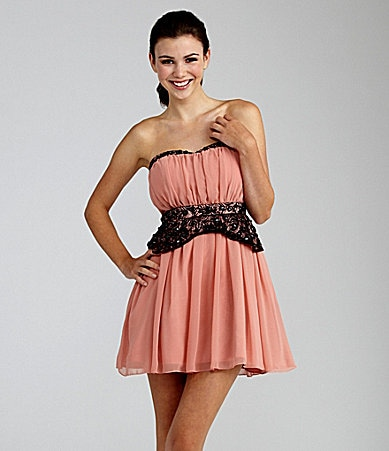 Sequin Hearts Strapless Shirred Dress