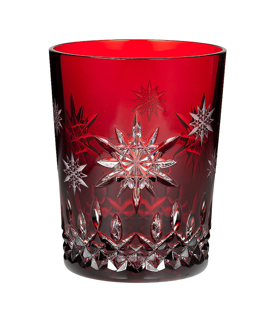 Waterford Snowflake Wishes For Joy Collection Premiere Edition Ruby Double Old-Fashioned Glass
