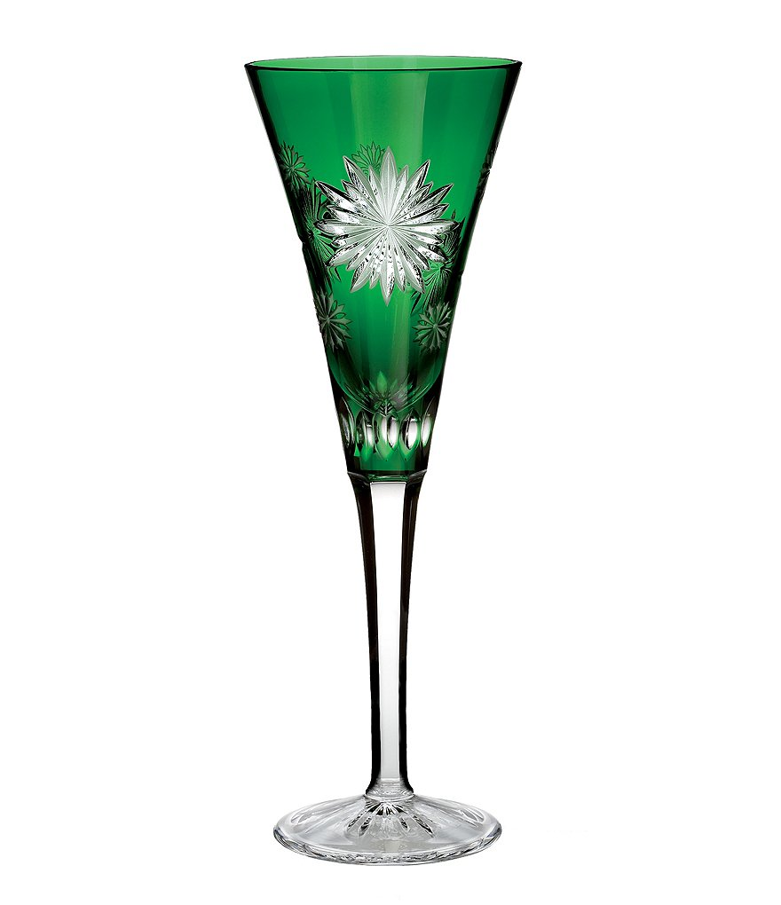 Waterford Snowflake Wishes Collection 2nd Edition Courage Emerald Champagne Flute