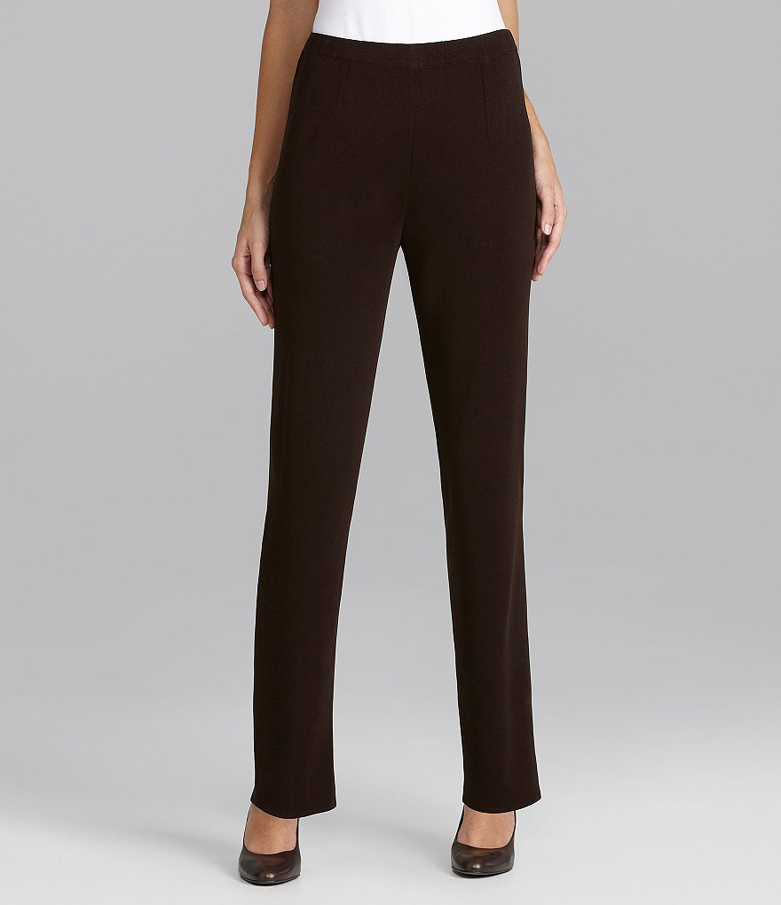 Ming Wang Straight-Leg Knit Pants