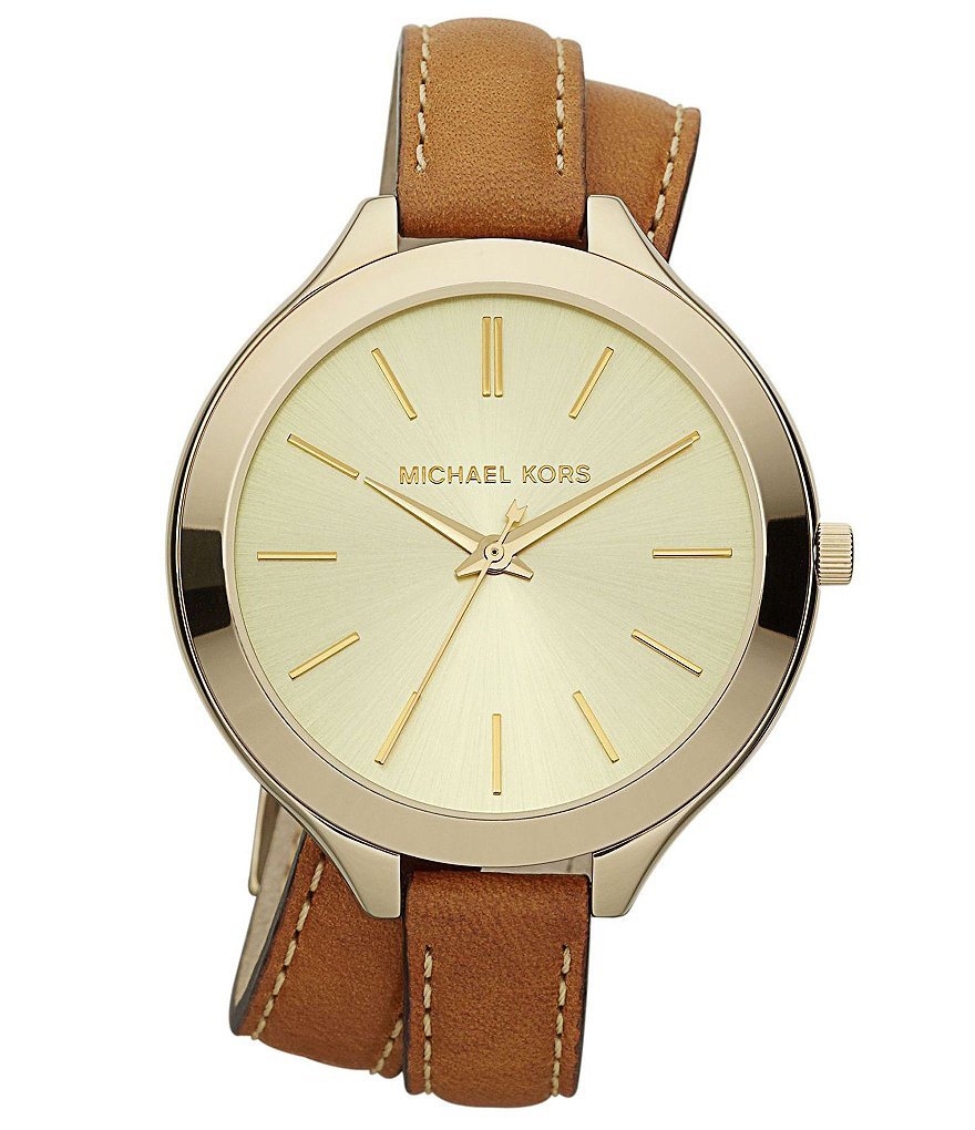 Michael Kors Runway Stainless Steel Double-Wrap Leather Strap Watch