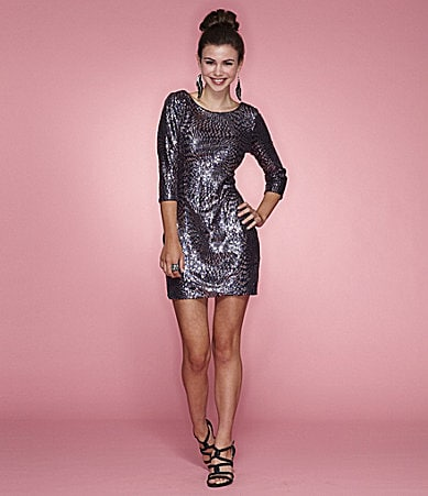 As U Wish 3/4 Sleeve Sequin Dress