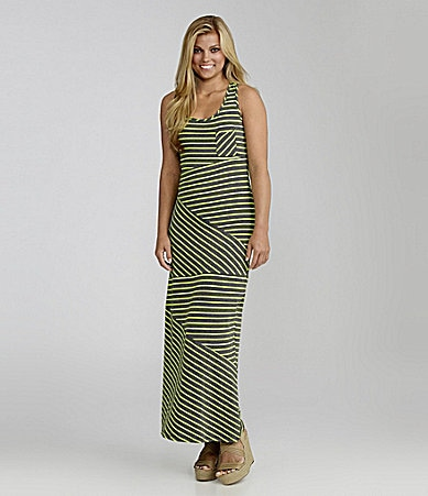 Soprano Pieced Stripe Maxi Dress