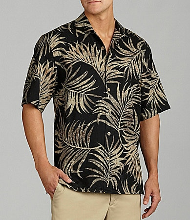 Caribbean  Big & Tall Silky Leaf Print Shirt