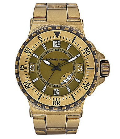 Michael Kors Mens Major Bronzetone Round Watch