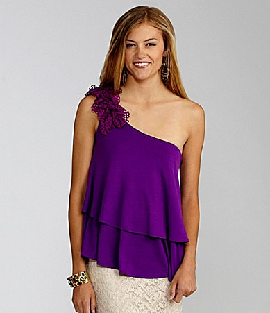 GB One-Shoulder Tiered Knit Top