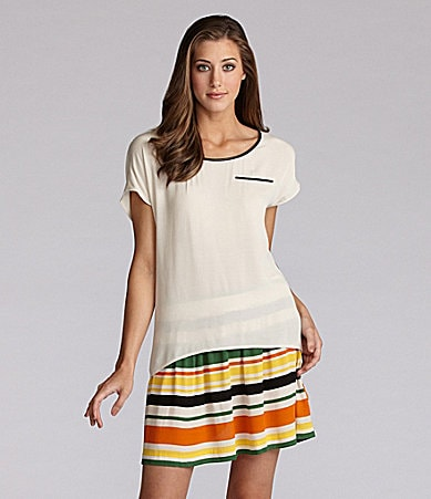 Kensie Modern Crepe Top & Striped Skirt