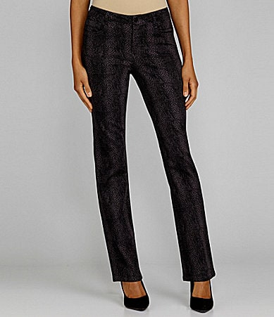 Jones New York Signature Lexington Snake-Print Straight-Leg Jeans