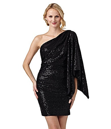 Hailey by Adrianna Papell One-Shoulder Sequin Dress