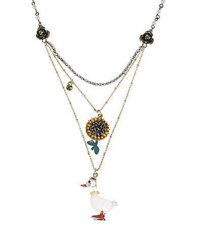 Betsey Johnson Farmhouse Multi-Row Duck Necklace