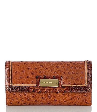 Brahmin Praline Tri-Color Collection Soft Checkbook Wallet
