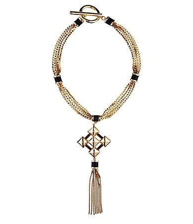 Vince Camuto Golden Edge Box Chain Diamond Shaped Pendant Necklace