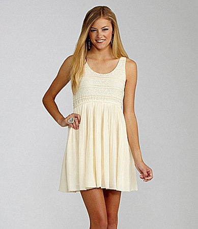GB Pleated Lace Dress