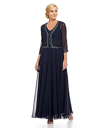 Jkara Beaded-Trim Jacket Gown