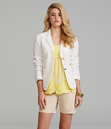 Cremieux Victoria Eyelet Jacket, Jamie Floral-Stripe Blouse & Faith Twill Shorts