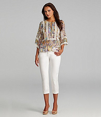 Nurture Floral Lace-Trim Blouse & Slim-Leg Crop Pants