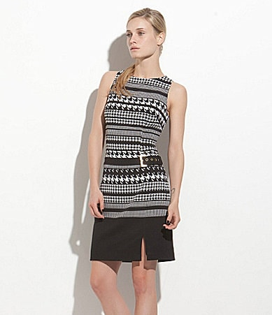 Laundry by Shelli Segal Houndstooth-Print Matte Jersey Dress
